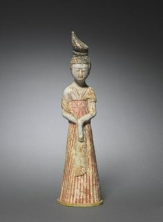 Court Lady with High Chignon: Tomb Figurine, 2nd half 7th Century China, Tang dynasty (618-906)
