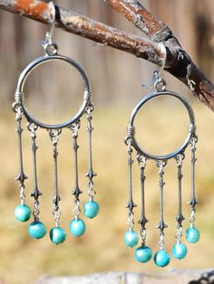 Silver and Blue Freshwater Pearl Hoop Earrings  #edgy #bohemian #punk #fashiondesigner #pretty