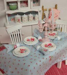 Miniature Dollhouse Cottage style Table scape