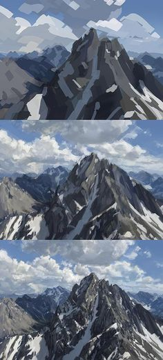 Digital art step by step mountain painting. Same steps for acrylic painting. In 3 Schritten zum perfekten Berg