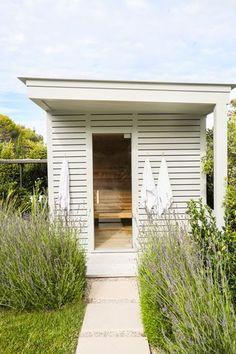 chic outdoor sauana sauna cabin Outdoor Living Space Mod Design Inspiration Malibu Home Saunas, Outside Living, Outdoor Living, Sauna House, Sauna Room, Outdoor Sauna, Sauna Design, Malibu Homes, Amber Interiors