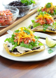 Rotisserie chicken is the shortcut to making a delicious tostada dinner in less than 30 minutes! Top store-bought tostadas (or you can make them yourself) with a spicy cream sauce, chicken, fiber-rich black beans and loads of other flavorful ingredients. Photo Credit: Julia Rutland