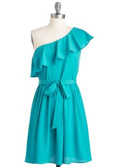 love the one-shoulder with the flutter sleeve, and the color!