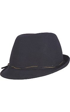 Black Rivet Wool Trilby Hat w/ Twisted Chain - #WilsonsLeather #hat