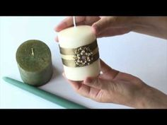 How to decorate plain ordinary pillar and tapered candles. Great for presents and all festive occasions including Christmas and weddings.  http://www.Labedzki-Art.com and http://myworld.ebay.com/annettelabedzki