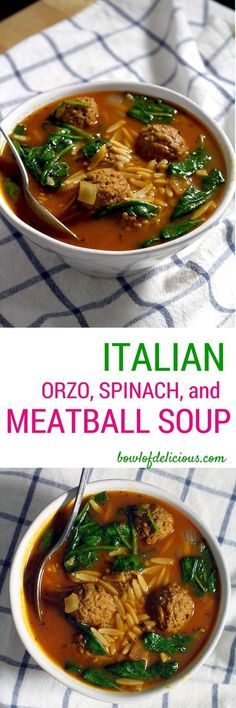 This soup is comforting, healthy, and light. The balance between meat, whole grains (orzo), and vegetables (spinach) makes for a well-rounded, soul satisfying meal. Try using leftover Turkey or chicken in place of the meatballs!