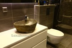 Standing Pebble Black Sumatra - Lux4home™. On table Stone Sink - River stone sink Lavabo Batu Kali Lux4home™