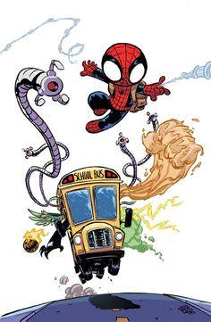 Spider-Man: Spidey Cover C Variant Skottie Young Baby Cover Baby Marvel, Chibi Marvel, Ms Marvel, Marvel Art, Marvel Dc Comics, Spiderman Kunst, All Spiderman, Amazing Spiderman, Batman