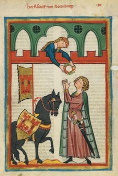 Codex Manesse, fol. 54r. Der urkundlich 1257 bezeugte Rudolf von Rotenburg gehörte einem nördlich von Luzern ansässigen Ministerialengeschlecht an, das in den Diensten der Vögte von Rotenburg stand. Auf der Miniatur empfängt er aus den Händen seiner Dame einen Kranz.