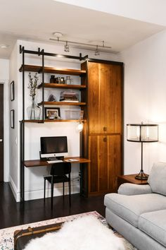 A desk with shelving and storage space - what more could we ask for?