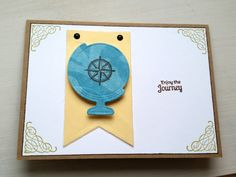 "A Bit Of Glue & Paper - handmade travel themed greeting card with die cut globe and pennant; stamped sentiment ""Enjoy the Journey""; teal, gold, brown, sage; Color Throwdown 430 #CTD430"