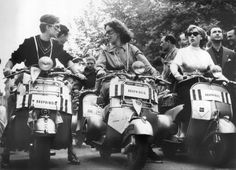 Dauphiné team on the starting line for a women's scooter race in Milan, Italy, held on June 9, 1952.