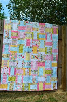Pink, aqua, multicolored quilt, Riley Blake's Sunny Happy Skies line, Ice Cream Sandwich pattern, twin size - for Taylor, Spring 2012