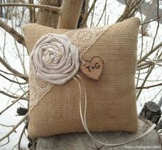 Personalized Burlap Ring Bearer Pillow Rustic Burlap and Lace Wedding Pillow via Etsy Burlap Ring Pillows, Ring Bearer Pillows, Throw Pillows, Lace Pillows, Burlap Lace, Burlap Flowers, Fabric Flowers, Hessian, Wedding Ring Cushion