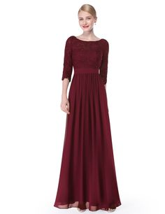 Lace Long Sleeve Floor Length Evening Dress