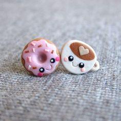 Fimo: Donut und Kaffeetasse; Kawaii!! Ohrringe