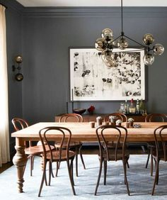 Dining room decor ideas that fit all tastes and sizes. From modern dining room ideas, rustic dining rooms, vintage dining rooms or even midcentury dining room designs these dining room decor tips are Modern Dining, Room Design, Interior, Dining Room Design, Bentwood Chairs, House Interior, Vintage Dining Room, Rustic Dining Room, Grey Dining Room