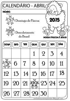 Calendário mês de abril