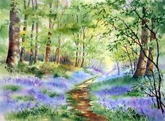 'Bluebells in Bunny Wood' Photographic Print by Ann Mortimer Watercolor Scenery, Watercolor Landscape Paintings, Seascape Paintings, Watercolour Painting, Landscape Art, Watercolors, Watercolor Flowers Tutorial, Tree Art, Art Pictures