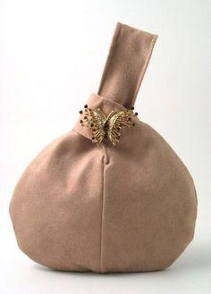 beige ultra suede wristlet bag by daphnenen on Etsy, $45.00