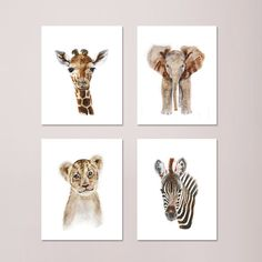 Set of 4 Safari Nursery Prints, Baby Animal Portraits - Elephant, Giraffe, Lion and Zebra - Various Sizes. Set of 4 Safari Nursery prints of Baby Safari Animal portraits taken from my original watercolors. Includes a baby elephant, baby giraffe, baby lion and baby monkey. QUALITY: Safari Nursery prints printed with highest quality archival inks and fine art papers to ensure print set will last and be enjoyed for years to come. DETAILS: Choose 5x7, 8.5x11, 11x14, 13x19, 16x20 or 18x24…
