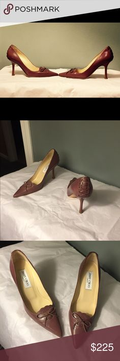 Jimmy Choo shoes Elevate your style with these uniquely gorgeous Classic Jimmy Choo pumps! In mauve, the pointed toe pumps feature a dainty bow at the vamp and lace detailing at the heel. Travel Leather Jimmy Choo pumps size 36, heel is 3 inches. New, without box. Jimmy Choo Shoes Heels