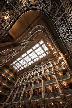 In the Corner View of the interior of the Peabody Library in Baltimore, with the lens pointed upward in one corner of the main chamber. What a glorious structure this is! Great Places, Beautiful Places, Peabody Library, Art Nouveau, Beautiful Library, Dream Library, Gothic, Baltimore City, Whitewater Kayaking