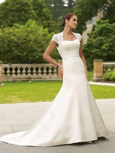 A-Line Square Long Satin Wedding Dress