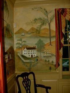 Ceiling Murals, Mural Wall Art, Mural Painting, Primitive Painting, Primitive Decor, Country Primitive, Early American Decorating, Fresco, Wallpaper Stencil