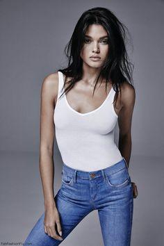 Brazilian model Daniela Braga fronts the River Island spring 2016 denim styles campaign. #riverisland
