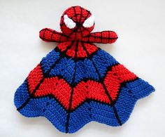 For inspiration--ove spiderman? How about a super hero spider lovey crochet pattern. This lovey crochet pattern is fun and expensive to make! The bright colors are sure to appeal to Crochet Doll Pattern, Crochet Blanket Patterns, Baby Blanket Crochet, Crochet Blankets, Baby Blankets, Crochet Gratis, Crochet Toys, Free Crochet, Crochet Security Blanket