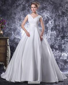 V-Neck Floor Length Pleated Satin Women Ball Gown Wedding Dress $286