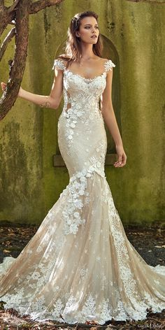 galia lahav fall 2017 bridal cap sleeves scoop neckline full embroidered elegant mermaid wedding dress low back chapel train (emma) mv