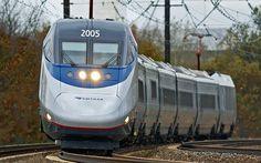 Amtrak Acela Express High-Speed Train running on existing Northeast corridor tracks in Bristol, Penn. (photo by Gary Pancavage, Amtrak)