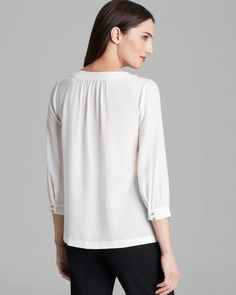 kate spade new york 'jolette' silk top, back view with softly gathered back neck