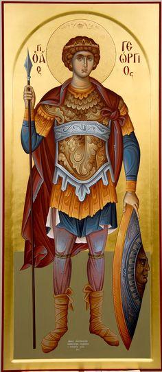 Άγιος Γεώργιος / Saint George (painted by Christos Fitzios) Byzantine Icons, Byzantine Art, Religious Icons, Religious Art, Roman Church, Picture Icon, Archangel Michael, Saint George, Orthodox Icons