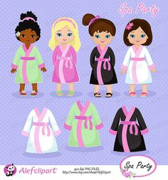 Spa Party Digital Clipart. Girls Spa Party. For personal and