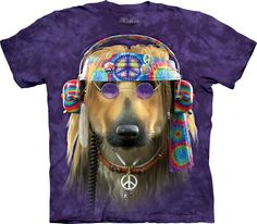 The Mountain Unisex Erwachsen Groovy Hund Peace T Shirt