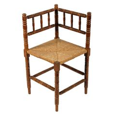 A late to early century antique bobbin turned corner chair. This antique rush seated corner chair is available to buy now online. Antique Chairs, Antique Furniture, Corner Chair, Armchair, Dining Chairs, Victorian, The Originals, Antiques, Wood
