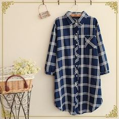 Windowpane Check Shirtdress from #YesStyle <3 Fairyland YesStyle.com