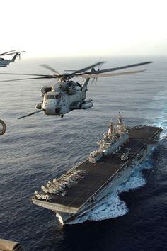 Military Helicopter and aircraft carrier