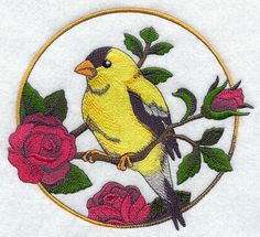 Goldfinch and Rose Circle Product ID: Size: x x mm) Color Changes: 22 Stitches: 51729 Colors Used: 15 Product Comments: Free Machine Embroidery Designs, Embroidery Fonts, Embroidery Patterns, Cross Stitch Patterns, Embroidered Quilts, Quilling Patterns, Fabric Painting, Cross Stitching, Sewing Crafts
