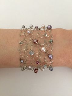 7 Handmade Silver Wire Pearl Bold Bracelet Ladies by CatDKnits