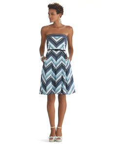 White House | Black Market Strapless Stripe Fit & Flare Dress #whbm