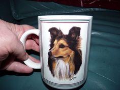 O.P.I.SHELTIE DOG BREED white coffee mug collectible Robert T.May cute mug dogs