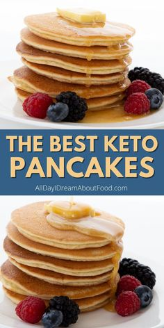 The search is over! These are the best keto pancakes you'll ever make. They're fluffy and light, with a perfect golden brown exterior. And they're so easy to make, you can whip them up before the rest of the family is even awake! Low Carb Flour, Low Carb Bread, Keto Bread, Low Carb Keto, Low Carb Recipes, Banting Recipes, Waffle Recipes, Keto Waffle, Pancake Recipes