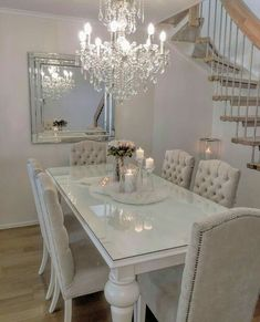 outstanding dining room table decor ideas 9 < Home Design Ideas Dining Table In Living Room, Luxury Dining Room, Elegant Dining Room, Dining Room Design, Living Room Decor, Dinning Room Ideas, White Dining Room Furniture, Luxury Living, Kitchen Design
