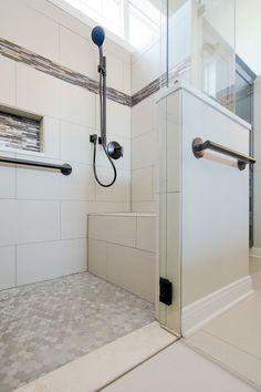 Tile Walk In Shower, Shower Floor Tile, Shower Doors, Ada Bathroom, Small Bathroom, Bathroom Ideas, Master Bathroom, Shower Ideas, Small Master Bath