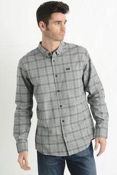 RVCA Mens Thatll Do Grey Plaid Button Down Shirt in GREY