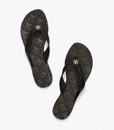 3407483a9 New Tory Burch Monroe Thong Sandals Black Size 9.5  ToryBurch  Thong  Metallic Sandals